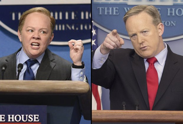 "SATURDAY NIGHT LIVE -- ""Kristen Stewart"" Episode 1717 -- Pictured: Melissa McCarthy as Press Secretary Sean Spicer during the ""Sean Spicer Press Conference"" sketch on February 4th, 2017 -- (Photo by: Will Heath/NBC)"